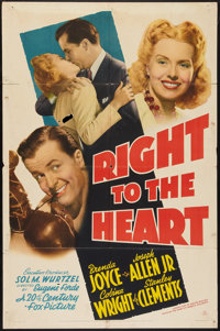 """Right to the Heart (20th Century Fox, 1941). One Sheet (27"""" X 41""""). Sports"""