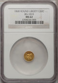 California Fractional Gold, 1868 50C Liberty Round 50 Cents, BG-1019, R.5, MS62 NGC....