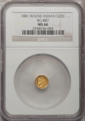 California Fractional Gold, 1881 25C Indian Round 25 Cents, BG-887, R.3, MS66 NGC....