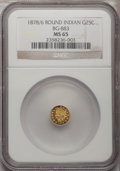 California Fractional Gold, 1878/6 25C Indian Round 25 Cents, BG-883, High R.4, MS65 NGC....
