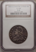 Bust Half Dollars, 1834 50C Large Date, Small Letters Fine 12 NGC. O-108. NGC Census:(3/1790). PCGS Population (0/925). Mintage: 6,412,00...