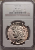 Peace Dollars: , 1927-S $1 MS61 NGC. NGC Census: (130/2403). PCGS Population(141/3778). Mintage: 866,000. Numismedia Wsl. Price for problem...