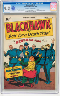 Blackhawk #9 (Quality, 1944) CGC NM- 9.2 Off-white to white pages