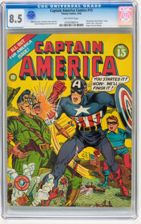 Captain America Comics #13 (Timely, 1942) CGC VF+ 8.5 Off-white pages
