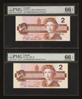 Canadian Currency: , BC-55b $2 1986 and BC-55cA-i $2 1986 Replacement.. ... (Total: 2notes)