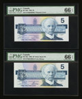 Canadian Currency: , BC-56a $5 1986 and BC-56b $5 1986.. ... (Total: 2 notes)