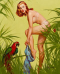 Paintings, GIL ELVGREN (American, 1914-1980). Bare Essentials, Brown & Bigelow calendar illustration, 1957. Oil on canvas. 30 x 24 ...