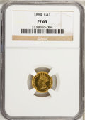Proof Gold Dollars, 1884 G$1 PR63 NGC....