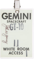 Transportation:Space Exploration, Gemini 10 White Room Access Badge Directly from the Personal Collection of Mission Commander John Young, Signed....