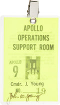 Transportation:Space Exploration, Apollo 9 Operations Support Room Badge Directly from the Personal Collection of Astronaut John Young, Signed....