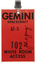 Transportation:Space Exploration, Gemini 3 White Room Access Badge Directly from the Personal Collection of Mission Pilot John Young, Signed....