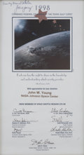 Autographs:Celebrities, Space Shuttle Discovery (STS-95) Crew-Signed Certificate Presented to and Directly from the Personal Collection of...