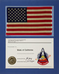 Transportation:Space Exploration, Space Shuttle Columbia (STS-1) Flown Large American Flag andEmbroidered Mission Insignia Patch Directly from the ...