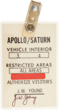 Transportation:Space Exploration, Apollo/ Saturn Vehicle Interior Badge Directly from the PersonalCollection of Astronaut John Young, Signed....