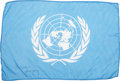 Transportation:Space Exploration, Apollo 16 Flown Large-Size United Nations Flag Directly from thePersonal Collection of Mission Commander John Young, Signed a...