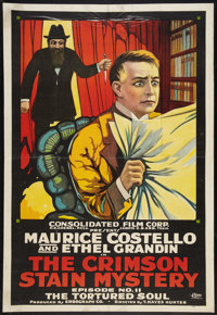 "The Crimson Stain Mystery (Metro, 1916). One Sheet (27"" X 41"") Episode 11 -- ""The Tortured Soul"". Ho..."