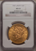 Liberty Double Eagles: , 1907 $20 MS63 NGC. NGC Census: (5601/619). PCGS Population(3742/743). Mintage: 1,451,864. Numismedia Wsl. Price for proble...