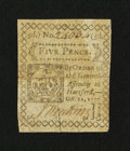 Colonial Notes:Connecticut, Connecticut October 11, 1777 5d Slash Cancel Extremely Fine-About New, restored....