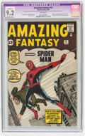 Silver Age (1956-1969):Superhero, Amazing Fantasy #15 (Marvel, 1962) CGC Apparent NM- 9.2 Extensive(P) White pages....