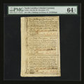 Colonial Notes:North Carolina, North Carolina December, 1771 2s6d; £1; 10s Uncut Sheet PMG ChoiceUncirculated 64 EPQ....