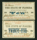 Obsoletes By State:Florida, Tallahassee, FL- State of Florida 10¢; 25¢ Feb. 2, 1863 . ... (Total: 2 notes)
