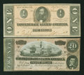 Confederate Notes:1864 Issues, A $20 and $1 1864 Notes.. ... (Total: 2 notes)
