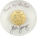 Transportation:Space Exploration, Gemini 10 Flown Fliteline Gold-Colored Medallion in Lucite Directlyfrom the Personal Collection of Mission Commander John You...
