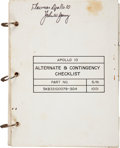 Transportation:Space Exploration, Apollo 10 Flown Alternate & Contingency Checklist Directly from the Personal Collection of Mission Com...