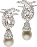 Estate Jewelry:Earrings, Diamond, South Sea Cultured Pearl, Platinum Convertible Earrings.... (Total: 2 Items)