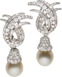 Diamond, South Sea Cultured Pearl, Platinum Convertible Earrings