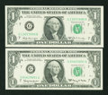 Error Notes:Ink Smears, Fr. 1901-G $1 1963A Federal Reserve Note. Very Fine.. ... (Total: 2notes)