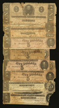 Confederate Notes:Group Lots, Mixed Lot of Confederate Notes. Eight Examples.. ... (Total: 8notes)