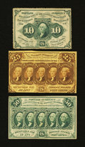 Fractional Currency:First Issue, Three First Issue Notes.. ... (Total: 3 notes)
