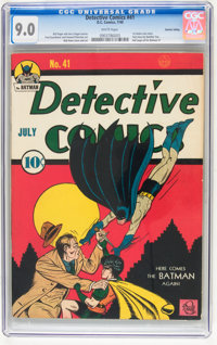 Detective Comics #41 Central Valley pedigree (DC, 1940) CGC VF/NM 9.0 White pages