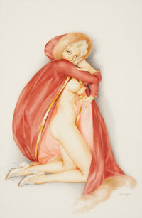 ALBERTO VARGAS (American, 1896-1982) Vargas Girl, Playboy illustration, page 98, February 1969 Watercolor on board 26
