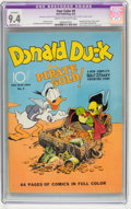 Golden Age (1938-1955):Cartoon Character, Four Color #9 Donald Duck Finds Pirate Gold (Dell, 1942) CGC Apparent NM 9.4 Moderate (P) Cream to off-white pages....
