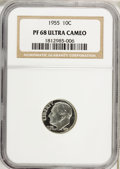 Proof Roosevelt Dimes: , 1955 10C PR68 Ultra Cameo NGC. NGC Census: (16/7). PCGS Population(11/0). (#95230)...