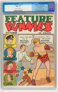 Feature Funnies #1 Mile High pedigree (Chesler, 1937) CGC NM+ 9.6 Off-white to white pages