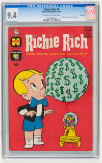 Richie Rich #6 File Copy (Harvey, 1961) CGC NM 9.4 Off-white to white pages