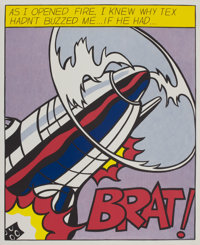 ROY LICHTENSTEIN (American, 1923-1997) As I Opened Fire, (triptych) Offset color lithographs 25