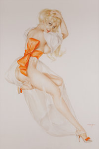 ALBERTO VARGAS (American, 1896-1982) Vargas Girl, Playboy illustration, page 159, December 1969 Watercolor on board 2
