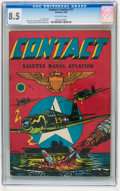 Golden Age (1938-1955):War, Contact Comics #11 (Aviation Press, 1946) CGC VF+ 8.5 Off-white pages....