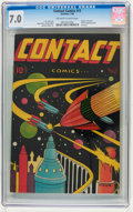 Golden Age (1938-1955):Science Fiction, Contact Comics #12 (Aviation Press, 1946) CGC FN/VF 7.0 Off-white to white pages....