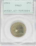 Proof Seated Quarters: , 1882 25C PR63 PCGS. PCGS Population (60/151). NGC Census: (43/173).Mintage: 1,100. Numismedia Wsl. Price for problem free ...