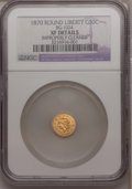 California Fractional Gold, 1870 50C Liberty Round 50 Cents, BG-1024, Low R.4,--ImproperlyCleaned--NGC. XF Details. NGC Census: (0/19). PCGS Populatio...