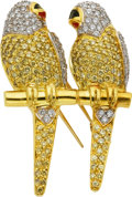 Estate Jewelry:Brooches - Pins, Colored Diamond, Diamond, Enamel, Gold Clip-Brooch. ...
