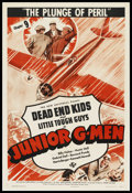 "Movie Posters:Serial, Junior G-Men (Universal, 1940). One Sheet (27"" X 41""). Serial. Chapter 9 -- ""The Plunge of Peril."" Starring Billy Halop, Hun..."