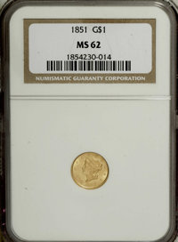 1851 G$1 MS62 NGC. NGC Census: (1016/901). PCGS Population (422/758). Mintage: 3,317,671. Numismedia Wsl. Price for NGC/...