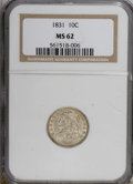 Bust Dimes: , 1831 10C MS62 NGC. NGC Census: (34/119). PCGS Population (20/101).Mintage: 771,350. Numismedia Wsl. Price for NGC/PCGS coi...
