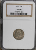 Bust Dimes: , 1827 10C AU50 NGC. NGC Census: (7/187). PCGS Population (9/166).Mintage: 1,300,000. Numismedia Wsl. Price for NGC/PCGS coi...
